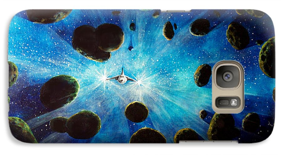 Asteroid Field. Astro Galaxy S7 Case featuring the painting Better Go Around by Murphy Elliott