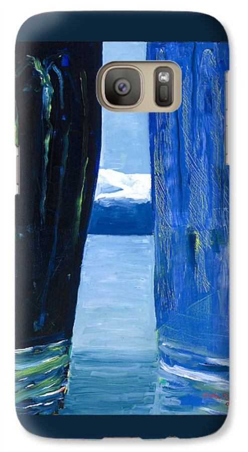 Landscape Galaxy S7 Case featuring the painting Between Two Mountains. by Jarle Rosseland