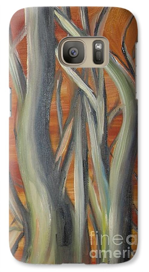 Trees Forest Original Painting Abstract Galaxy S7 Case featuring the painting Beyond by Leila Atkinson