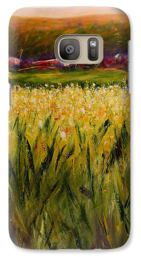 Landscape Galaxy S7 Case featuring the painting Beyond The Valley by Shannon Grissom