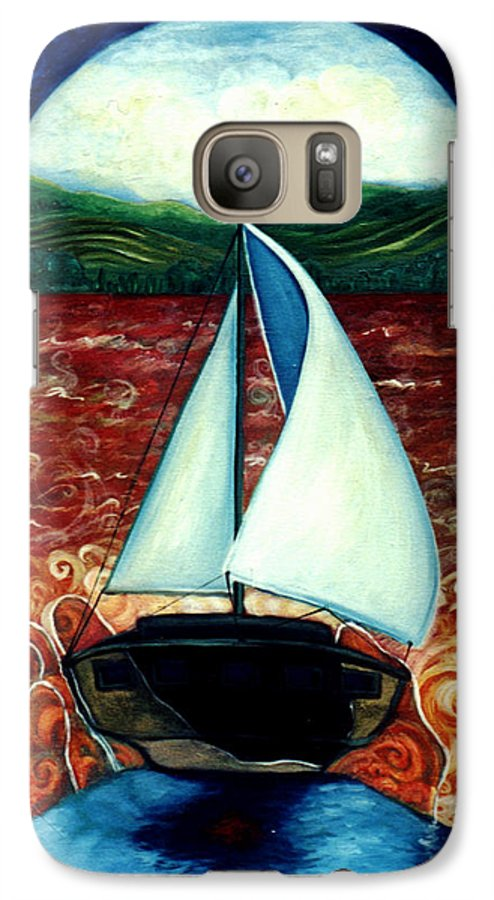 Sailboat Galaxy S7 Case featuring the painting Beyond These Shores by Teresa Carter
