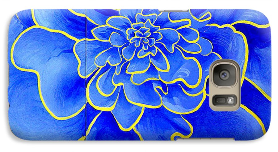 Diptych Galaxy S7 Case featuring the painting Big Blue Flower by Geoff Greene