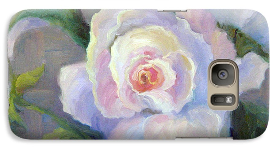 Flower Galaxy S7 Case featuring the painting Big Blushing Rose by Bunny Oliver