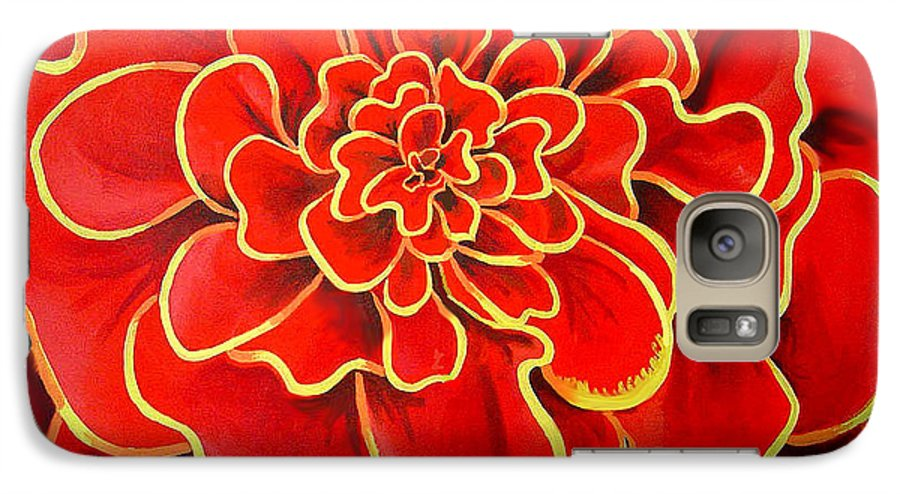 Diptych Galaxy S7 Case featuring the painting Big Red Flower by Geoff Greene