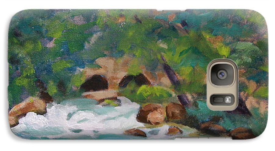 Impressionistic Galaxy S7 Case featuring the painting Big Spring On The Current River by Jan Bennicoff