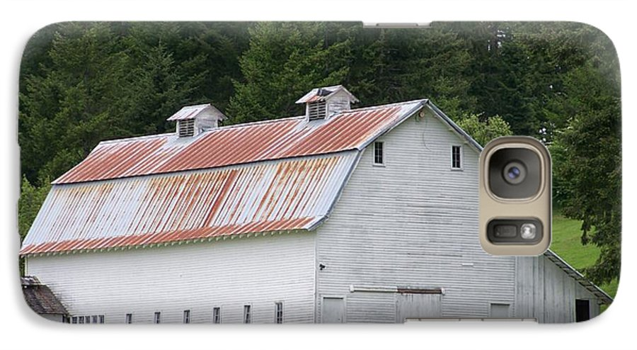White Galaxy S7 Case featuring the photograph Big White Old Barn With Rusty Roof Washington State by Laurie Kidd