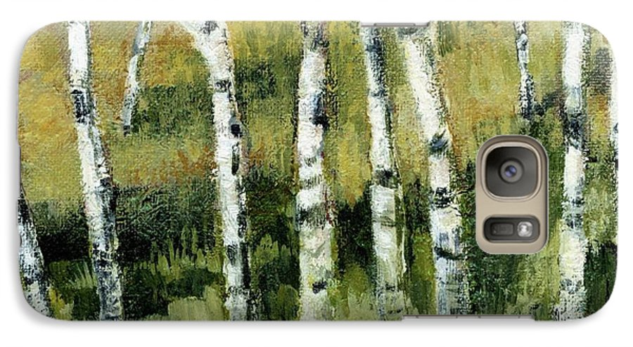 Trees Galaxy S7 Case featuring the painting Birches On A Hill by Michelle Calkins