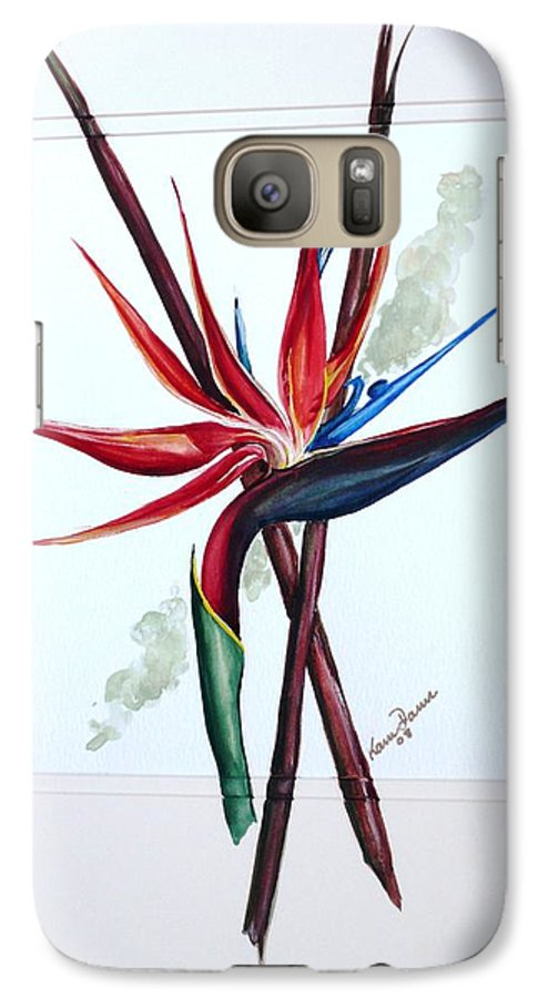Floral Tropical Caribbean Flower Galaxy S7 Case featuring the painting Bird Of Paradise Lily by Karin Dawn Kelshall- Best