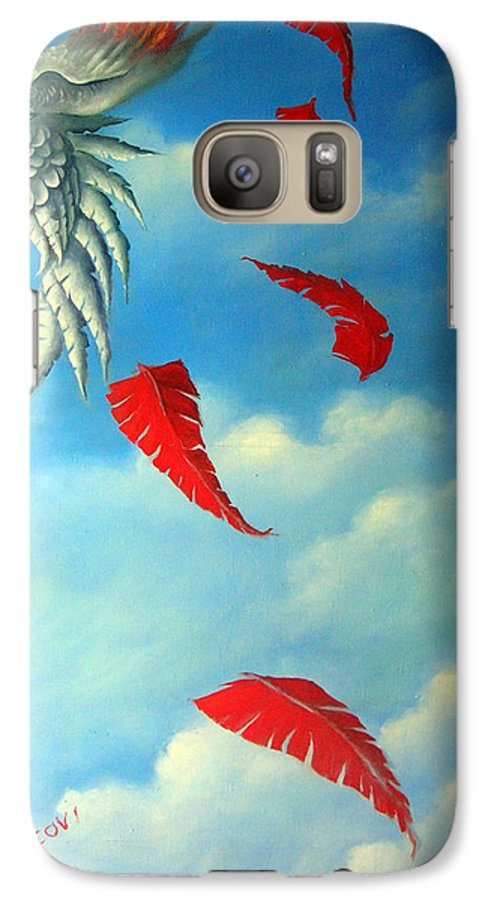 Surreal Galaxy S7 Case featuring the painting Bird On Fire by Valerie Vescovi