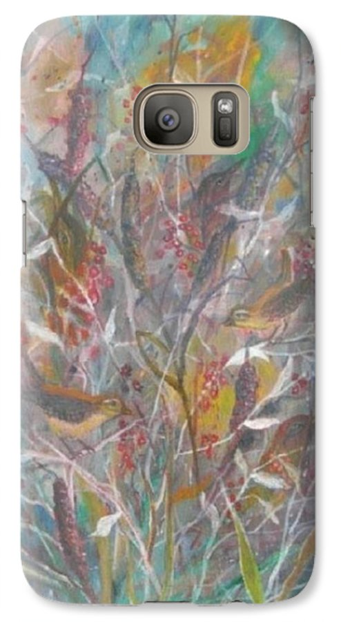 Birds Galaxy S7 Case featuring the painting Birds In A Bush by Ben Kiger