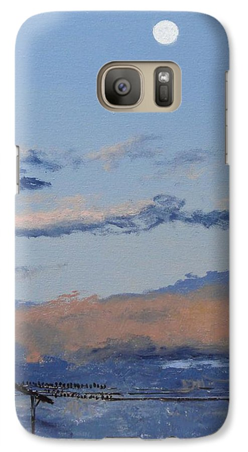Landscape Galaxy S7 Case featuring the painting Birds On A Wire by Barbara Andolsek