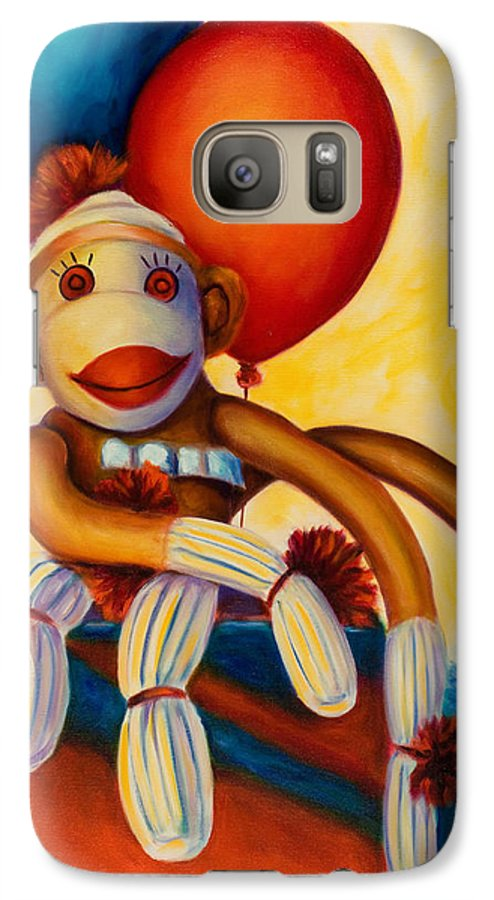 Sock Monkey Brown Galaxy S7 Case featuring the painting Birthday Made Of Sockies by Shannon Grissom