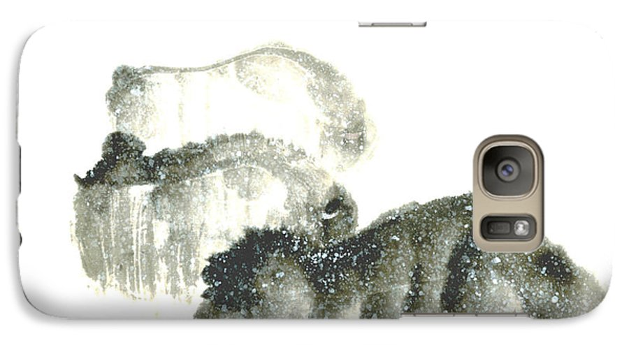 A Herd Of Bison Grazing In Snow. This Is A Contemporary Chinese Ink And Color On Rice Paper Painting With Simple Zen Style Brush Strokes.  Galaxy S7 Case featuring the painting Bison In Snow II by Mui-Joo Wee