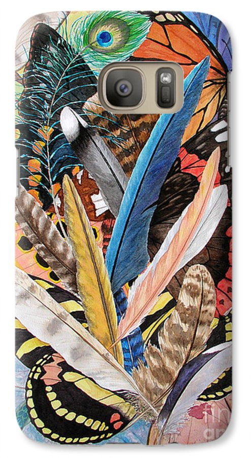 Feathers Galaxy S7 Case featuring the painting Bits Of Flight by Lucy Arnold
