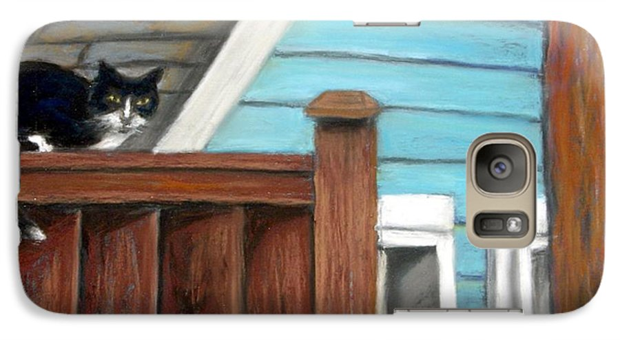 Cat Galaxy S7 Case featuring the painting Black Alley Cat by Minaz Jantz