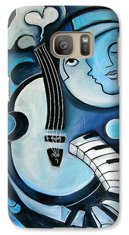 Abstract Galaxy S7 Case featuring the painting Black And Bleu by Valerie Vescovi