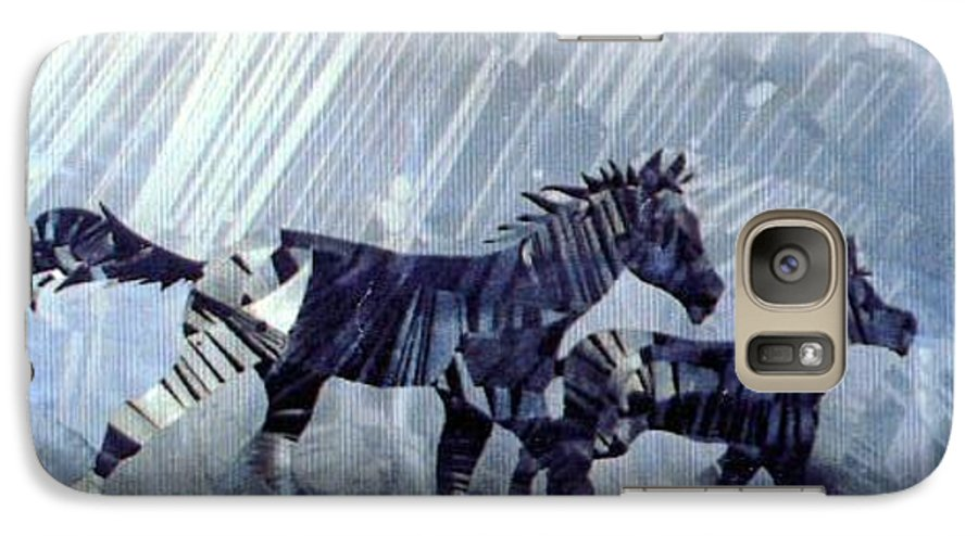 Wildlife Galaxy S7 Case featuring the painting Black And White Nineteen Fifty Six by Rick Silas