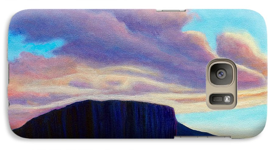 Landscape Galaxy S7 Case featuring the painting Black Mesa Sunset by Brian Commerford