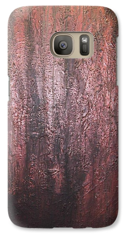 Abstract Galaxy S7 Case featuring the painting Black No 1 by Elizabeth Klecker