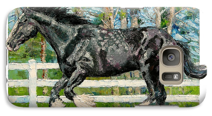 Horse Galaxy S7 Case featuring the painting Black Power by John Lautermilch
