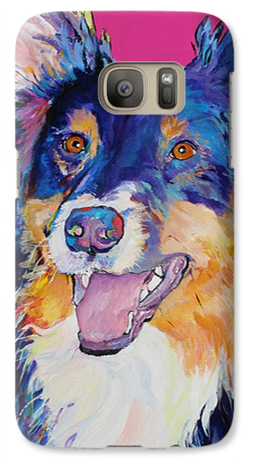 Dog Galaxy S7 Case featuring the painting Blackjack by Pat Saunders-White