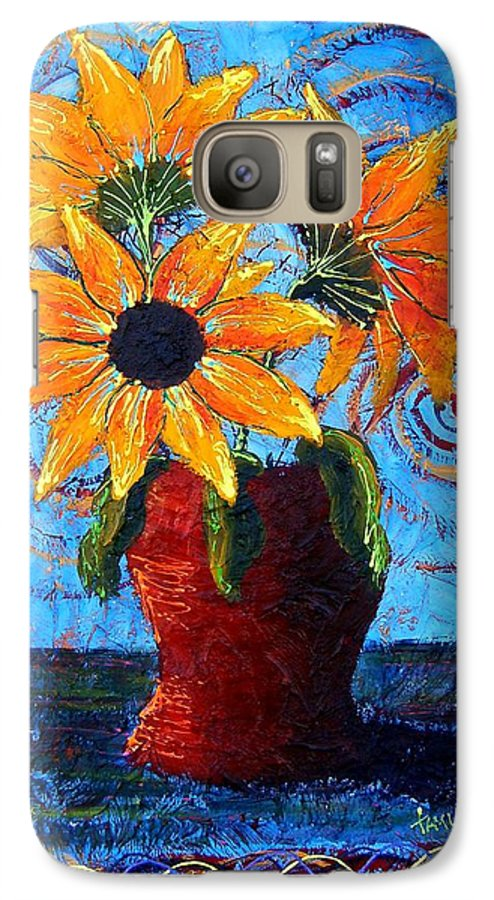 Galaxy S7 Case featuring the painting Blazing Sunflowers by Tami Booher
