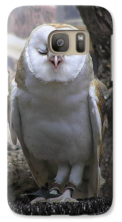 Barn Galaxy S7 Case featuring the photograph Blinking Owl by Louise Magno