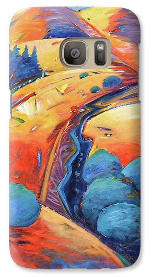 Hills Galaxy S7 Case featuring the painting Blue And Gold by Gary Coleman