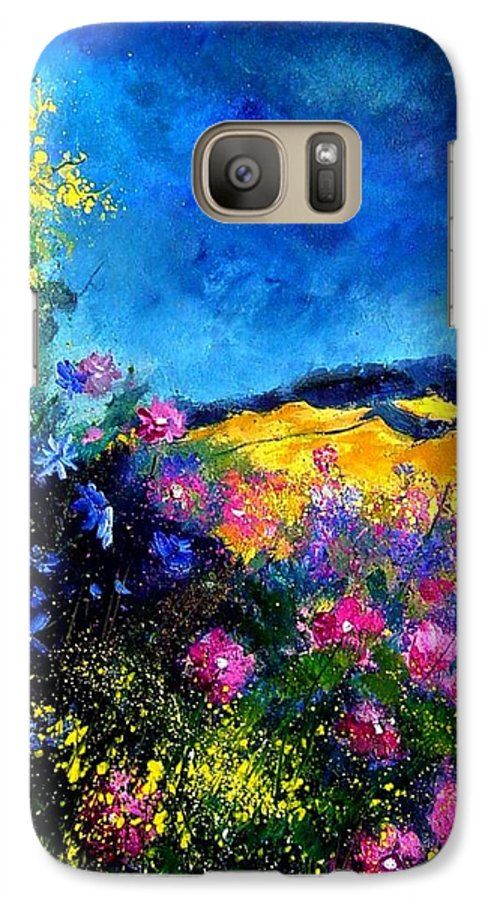Landscape Galaxy S7 Case featuring the painting Blue And Pink Flowers by Pol Ledent