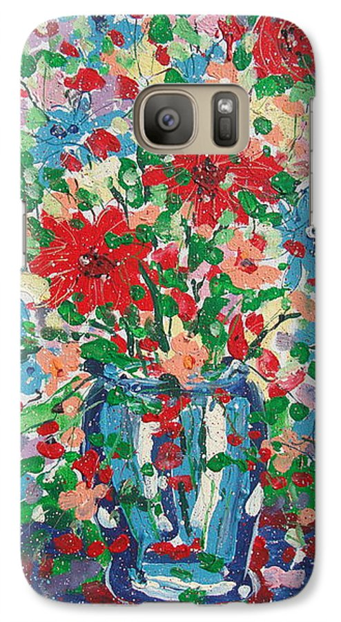 Painting Galaxy S7 Case featuring the painting Blue And Red Flowers. by Leonard Holland