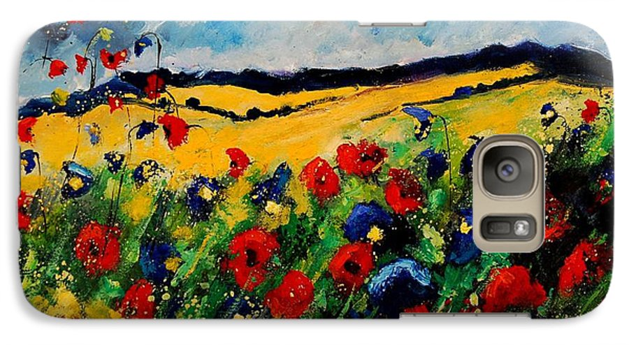 Poppies Galaxy S7 Case featuring the painting Blue And Red Poppies 45 by Pol Ledent