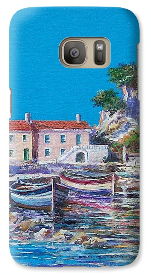 Original Painting Galaxy S7 Case featuring the painting Blue Bay by Sinisa Saratlic