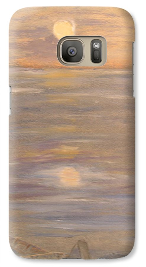 Boat Galaxy S7 Case featuring the painting Blue Boat by Patricia Caldwell