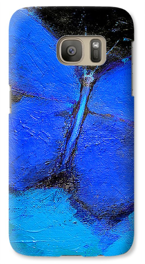 Butterfly Galaxy S7 Case featuring the painting Blue Butterfly by Noga Ami-rav