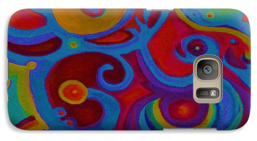 Abstract Galaxy S7 Case featuring the painting Blue Corn Flower by Sidra Myers