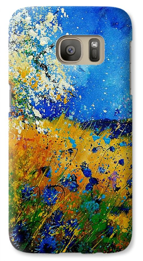 Poppies Galaxy S7 Case featuring the painting Blue Cornflowers 450108 by Pol Ledent