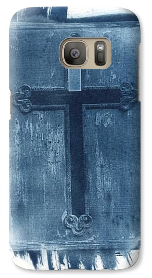 Cyanotype Galaxy S7 Case featuring the photograph Blue Cross by Jane Linders