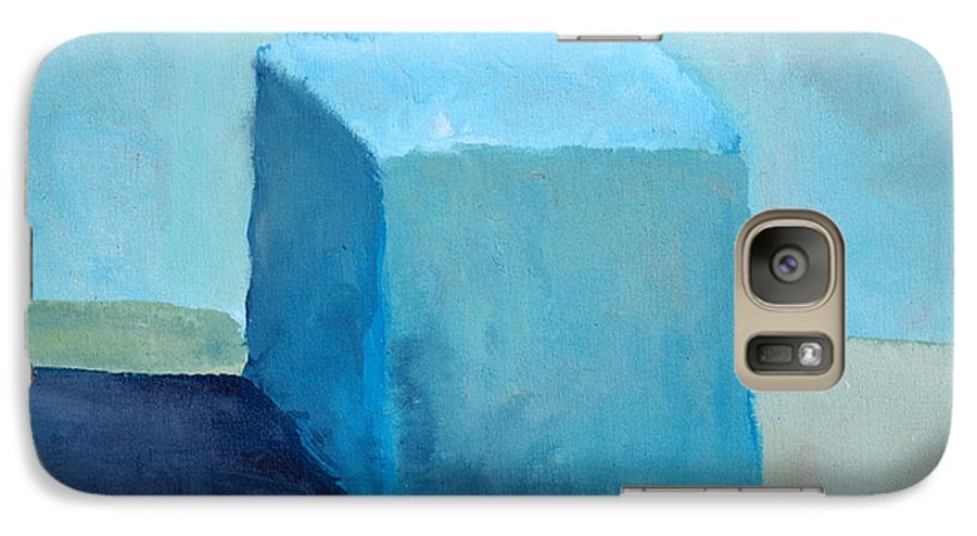 Blue Galaxy S7 Case featuring the painting Blue Cube Still Life by Michelle Calkins