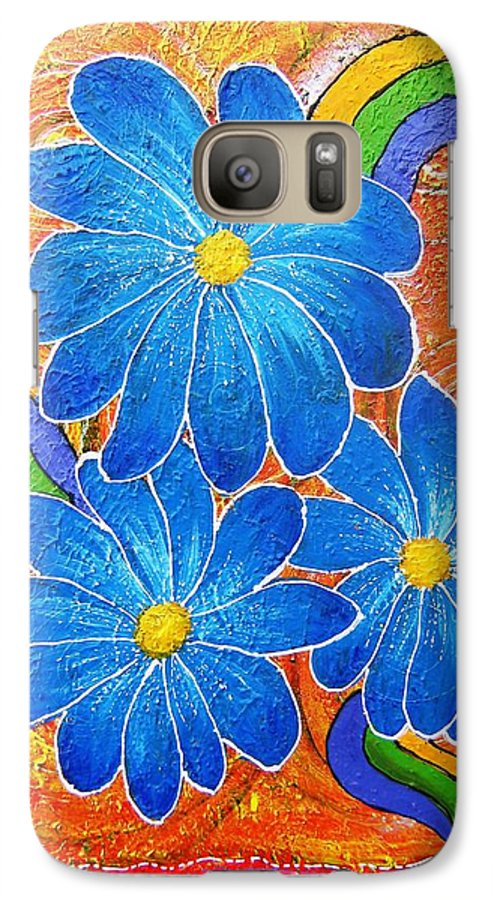 Galaxy S7 Case featuring the painting Blue Daisies Gone Wild by Tami Booher