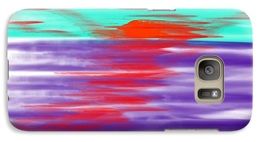 Sky.clouds.sun.sunrays.sunset.sea.water.reflection.slow Waves.deep Water.evening.rest.silence Galaxy S7 Case featuring the digital art Blue Deep Evening by Dr Loifer Vladimir