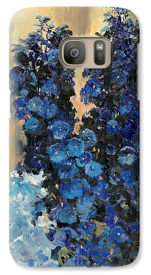 Floral Galaxy S7 Case featuring the painting Blue Delphiniums For Nancy by Glenn Secrest