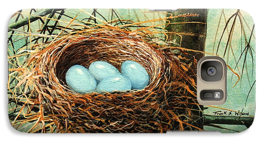 Wildlife Galaxy S7 Case featuring the painting Blue Eggs In Nest by Frank Wilson