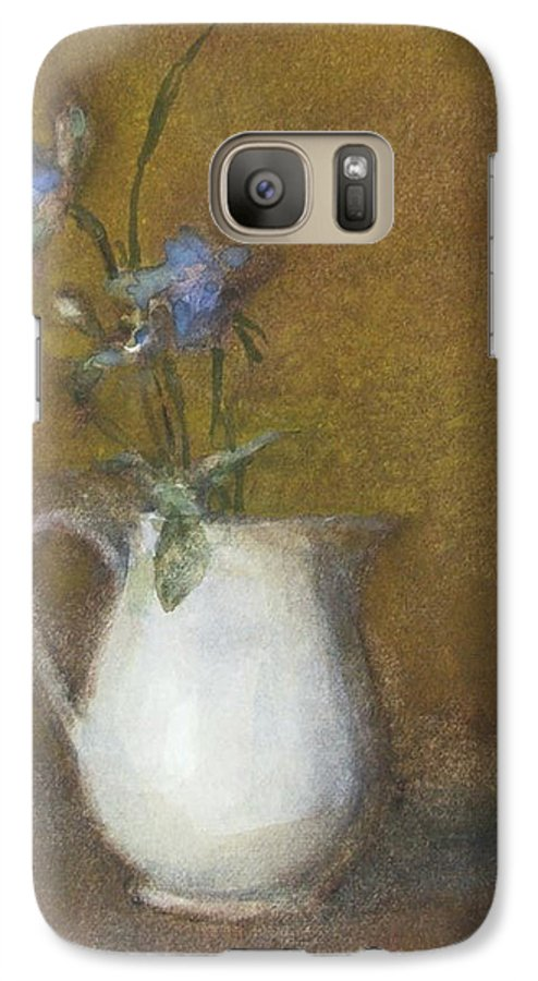 Floral Still Life Galaxy S7 Case featuring the painting Blue Flower by Joan DaGradi