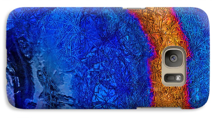 Abstract Galaxy S7 Case featuring the painting Blue Force by Dee Flouton