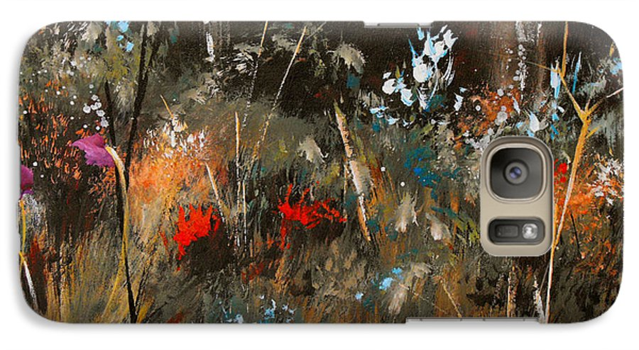 Abstract Galaxy S7 Case featuring the painting Blue Grass And Wild Flowers by Ruth Palmer