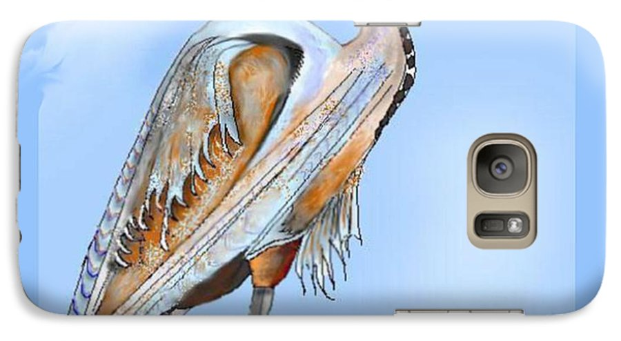 Blue Heron Galaxy S7 Case featuring the painting Blue Heron In The Mist by Anne Norskog