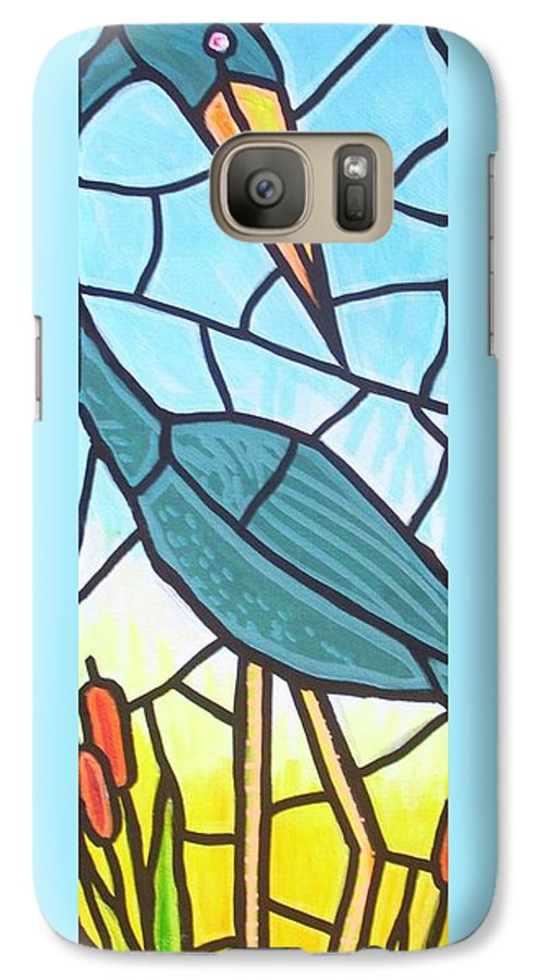 Heron Galaxy S7 Case featuring the painting Blue Heron by Jim Harris