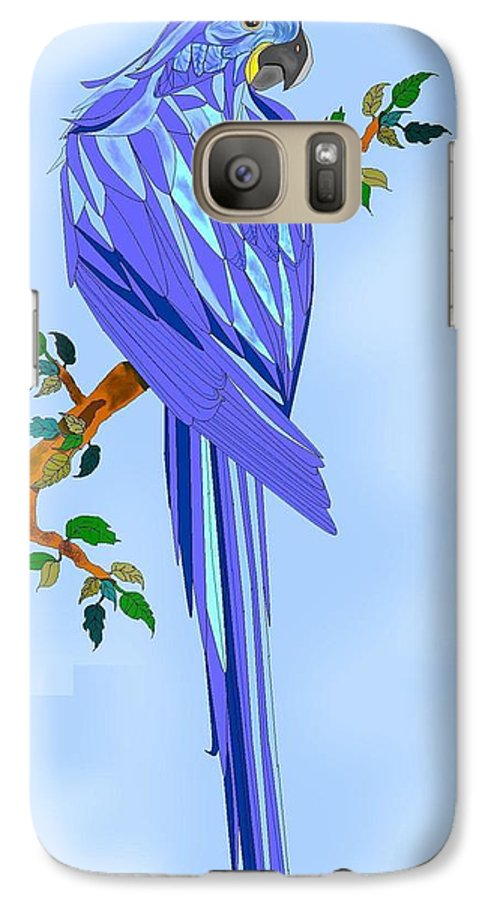 Blue Bird Galaxy S7 Case featuring the painting Blue Hyacinth by Anne Norskog