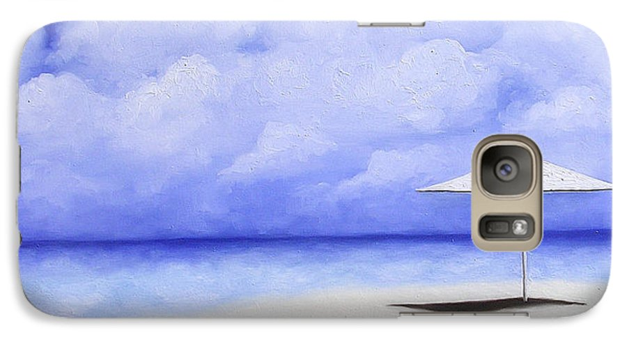 Seascape Galaxy S7 Case featuring the painting Blue Isolation by Trisha Lambi