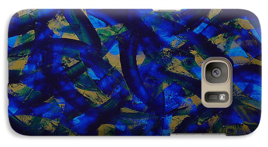 Abstract Galaxy S7 Case featuring the painting Blue Pyramid by Dean Triolo
